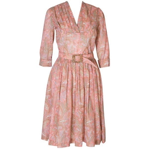 A vintage 1950s Pretty printed cotton day Dress with matching Decorative Belt