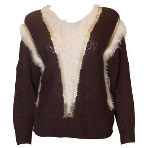 Vintage Brown, Gold and White Jumper