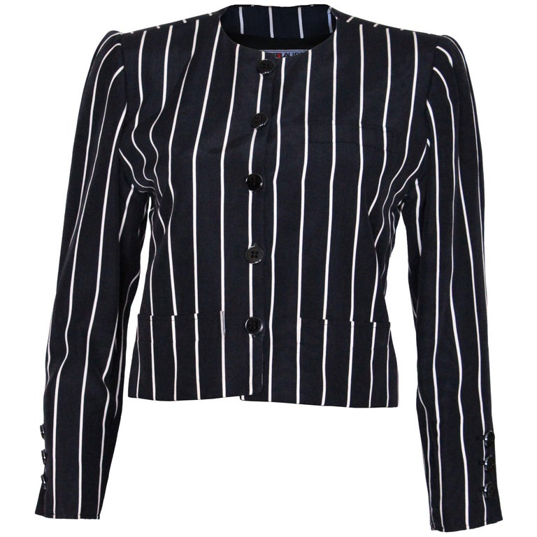 A vintage 1980s Yves Saint Laurent Navy and White Striped Crop Jacket