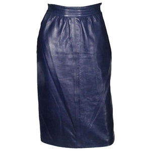A vintage 1980s Blue Leather high waisted pencil Skirt by Yves Saint Laurent Rive Gauche