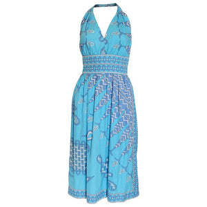 A Vintage 1970s  Emilio Pucci blue Cotton Summer Halterneck Dress