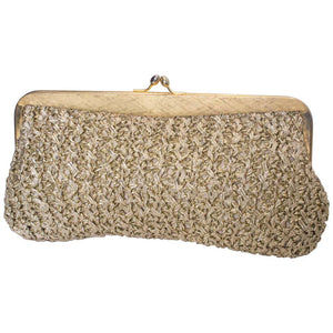 A Vintage 1970s Gold Raffia clutch evening Bag