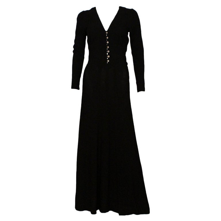Ossie Clark Black Moss Crepe Maxi Dress, 1970s