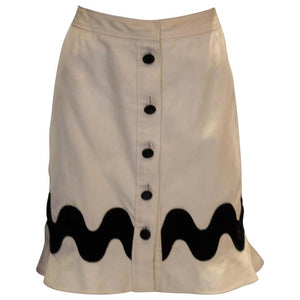 A Yves Saint Laurent Rive Gauche White and Black Skirt