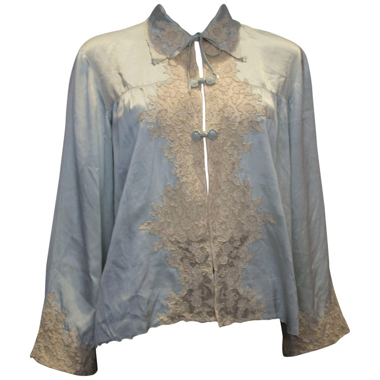 Vintage Silk Satin Bed Jacket with Lace Detail