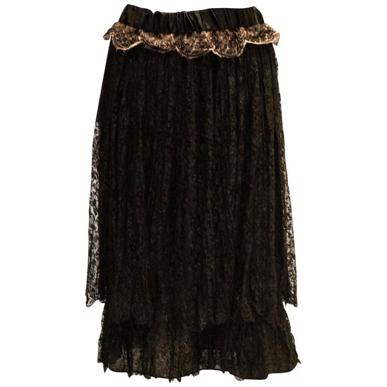 A Vintage 1920s Black Lace Skirt