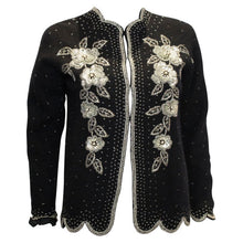 Load image into Gallery viewer, Vintage Black Wool Cardigan with Sequin, Bead and Pearl Decoration