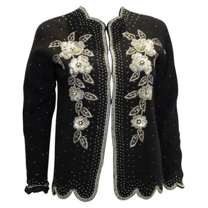 Vintage Black Wool Cardigan with Sequin, Bead and Pearl Decoration