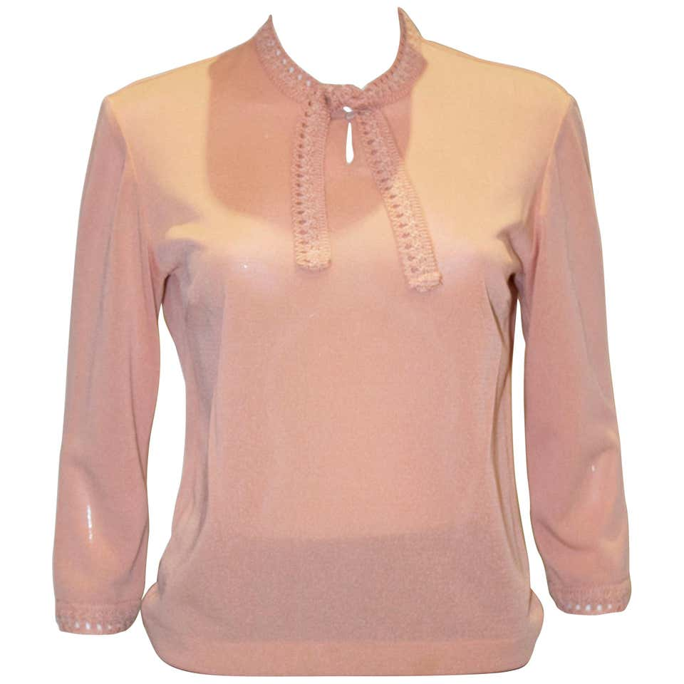 A Vintage 1940s pink knit Top by Creation Anne Laroye