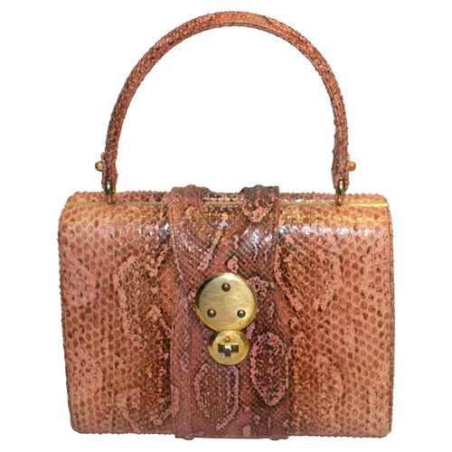 A Vintage 1960s Pink Snakeskin Top Handle Handbag