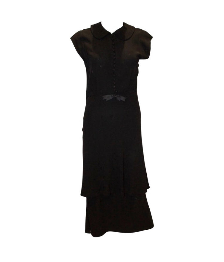 1940s Black Cocktail Dress with Cap Sleaves