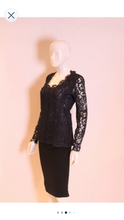 Load image into Gallery viewer, A 1990s Yves Saint Laurent navy Blue Lace Top