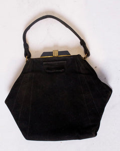 Vintage Art Deco Black Suede Handbag