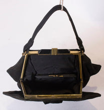 Load image into Gallery viewer, Vintage Art Deco Black Suede Handbag