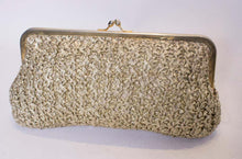 Load image into Gallery viewer, A Vintage 1970s Gold Raffia clutch evening Bag