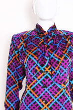 Load image into Gallery viewer, A Vintage 1980s colourful Yves Saint Laurent Silk Blouse