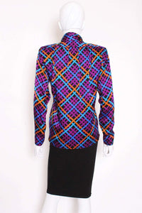 A Vintage 1980s colourful Yves Saint Laurent Silk Blouse