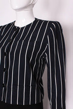 Load image into Gallery viewer, A vintage 1980s Yves Saint Laurent Navy and White Striped Crop Jacket