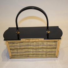 Load image into Gallery viewer, Vintage Lucite Black and Gold Evening Bag