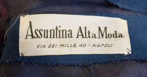 Vintage Petrol Blue Cocktail Dress by Assutina Alta Moda