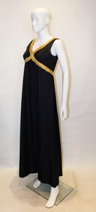 Vintage California Black and Gold Evening Dress