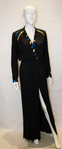 A Vintage 1970s Roland Klein Black, Blue and Gold Evening Dress