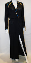 Load image into Gallery viewer, A Vintage 1970s Roland Klein Black, Blue and Gold Evening Dress