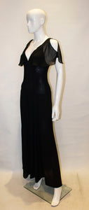 A Vintage 1970s Radley Black Moss Crepe Evening Dress
