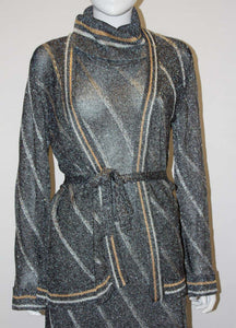 A Vintage 1970s silver Ian Peters Knitted Dress and Jacket