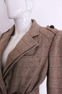 A vintage 2000 Yves Saint Laurent Linen/Silk Mix double collared Jacket