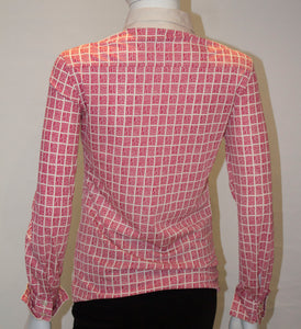 A Vintage 1960s Nina Ricci Red and White logo button up Shirt