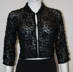 A Vintage 1960s Black Beaded Evening Jacket