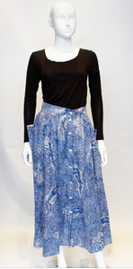 A Vintage 1980s Escada Blue and White Cotton tiger printed Skirt