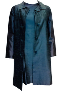 A Vintage dusty blue 1960s Silk Coat and Dress
