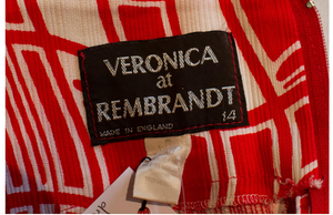 A Vintage 1970s Veronica at Rembrant Red and White Dress