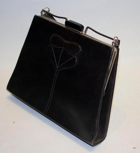 A Vintage 1920s Black Leather Art Deco Bag
