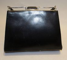 Load image into Gallery viewer, A Vintage 1920s Black Leather Art Deco Bag