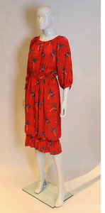 A vintage 1970s Celine Silk Red Floral printed Dress