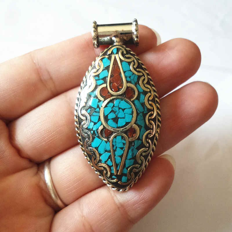 Himalayan Pendant with Colourful Stones