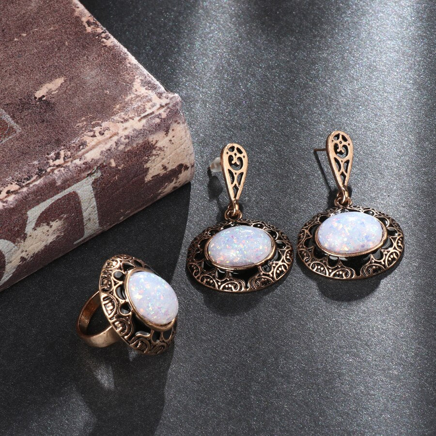 White Opal Black Enamel 2 Pieces Set