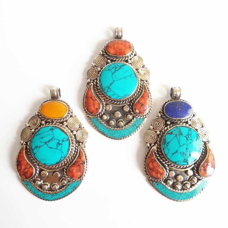 Nepal Pendant with Colourful Stones