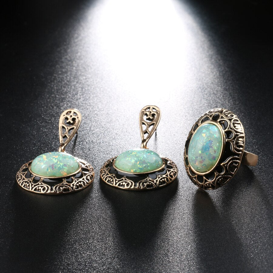 Green Opal Black Enamel 2 Pieces Set