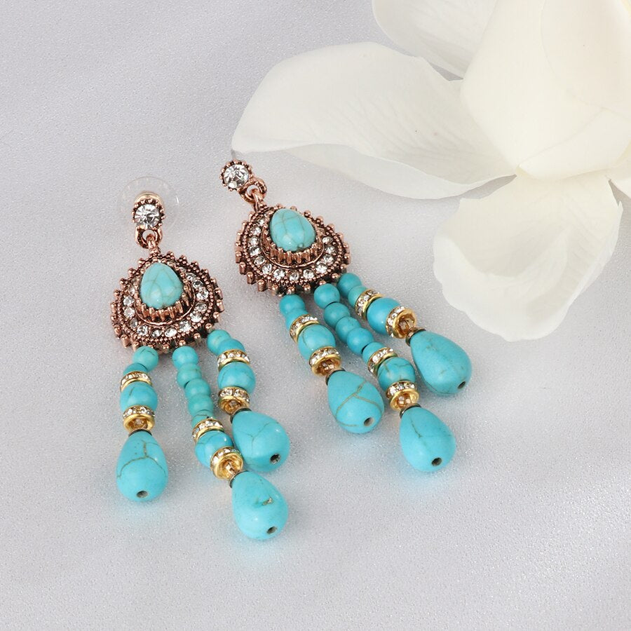 Turkish Teardrop Turquoise Earrings