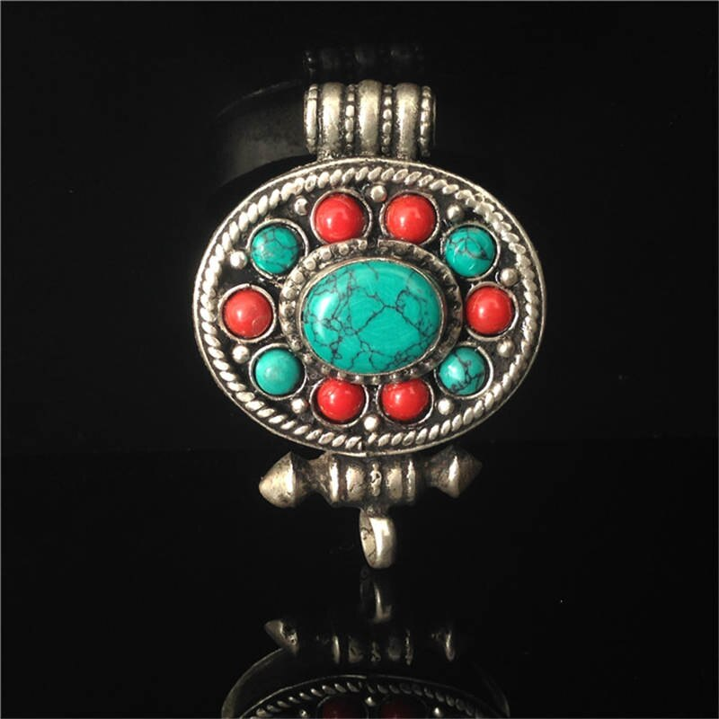 Tibet Turquoise Stone and Red Beads Gau Amulet
