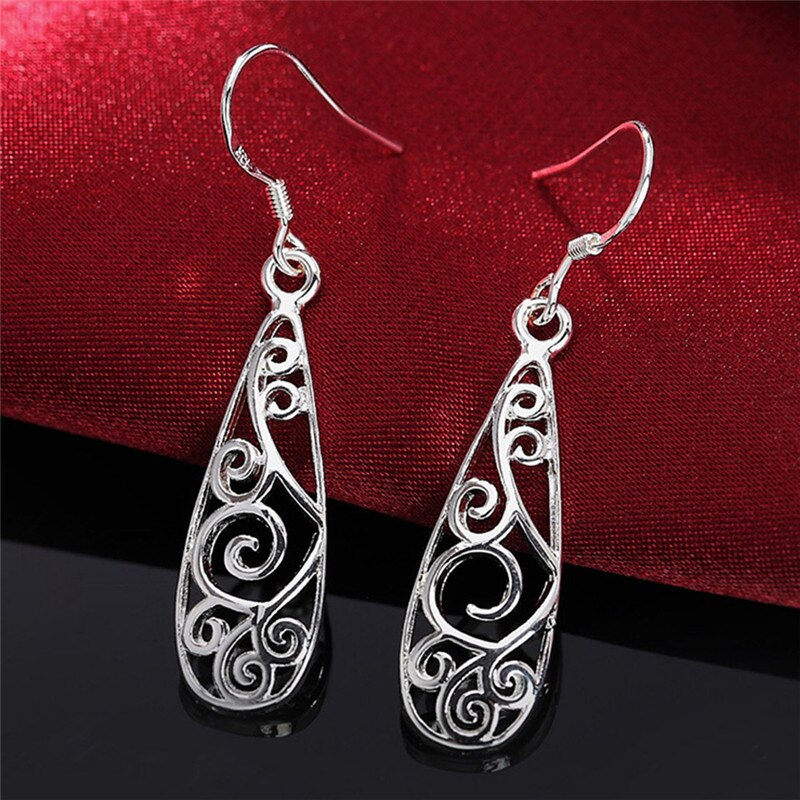 Teardrop Silver-Plated Filigrane Earrings
