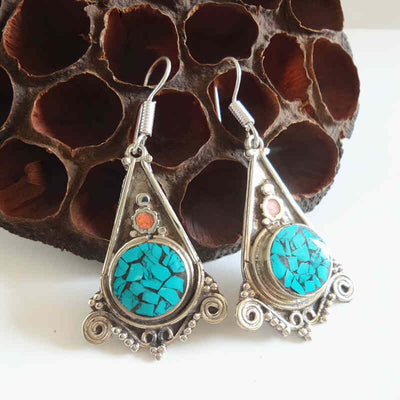 Himalayan Triangle Earrings with Inlaid Colourful Stones