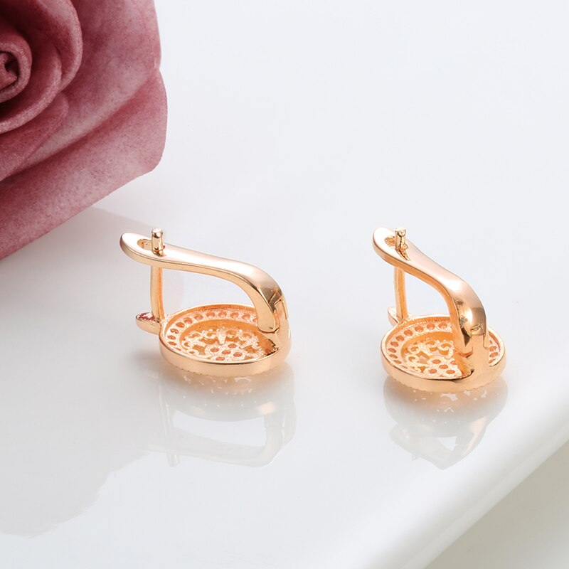 Pink Coper and Zircon Earrings