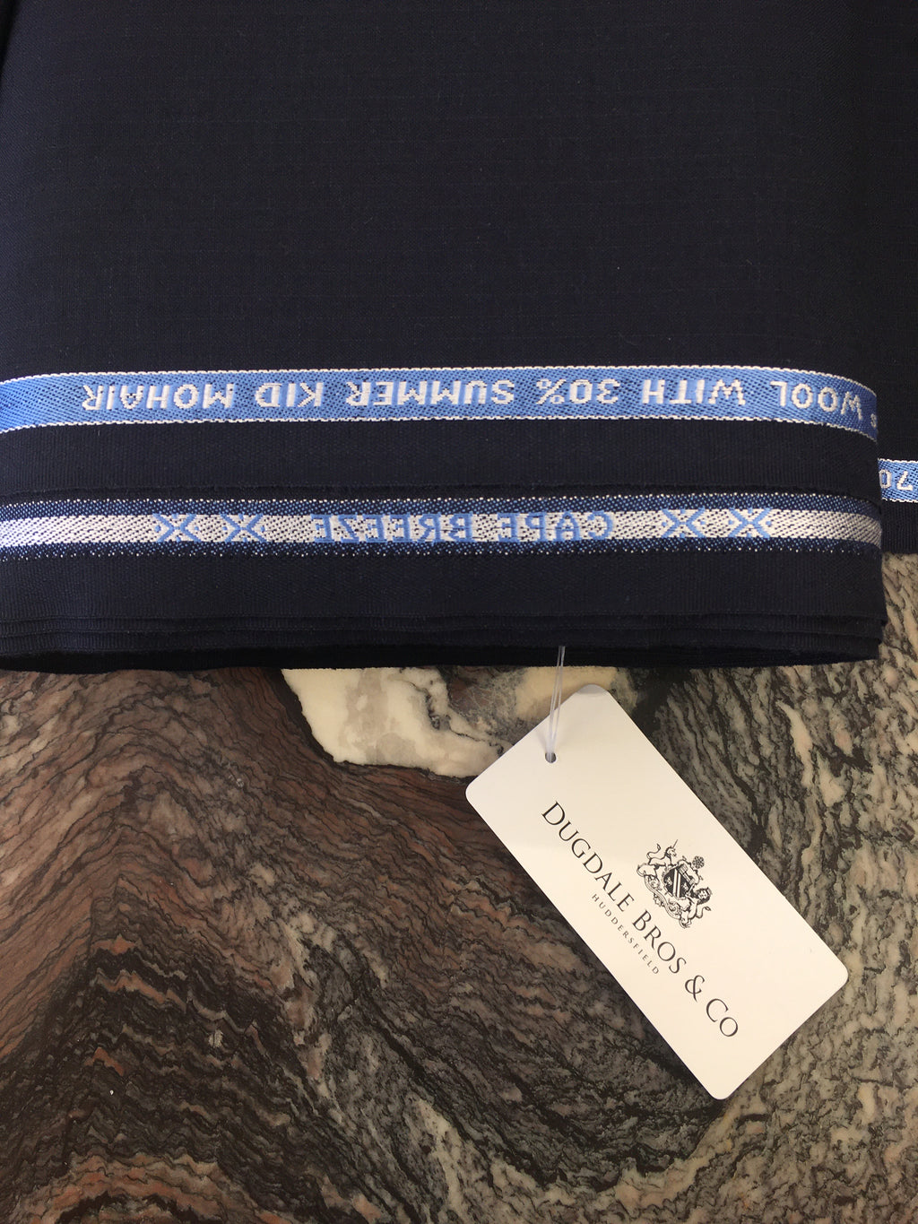 "Mohair ""Navy Blue Narrow Self Stripe"""