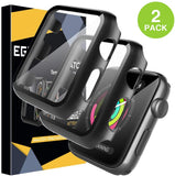 EGV [2 Pack] Tempered Glass Case for Apple Watch 38mm Series 3/2/1