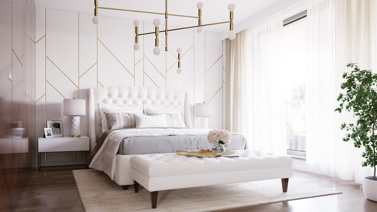 Chambre blanche et or